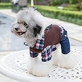 Sixminyo Haustier Bekleidung British Plaid Shirt Teddy Haustier Kleidung, braun, XL