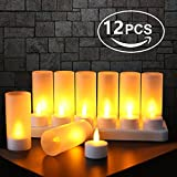 Expower Rechargeable LED Flameless Candles Tealight Candles With Base?Set Of 12) (Yellow-color Candle)