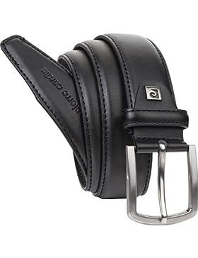 Pierre Cardin - Cinturón de piel para hombre, color negro