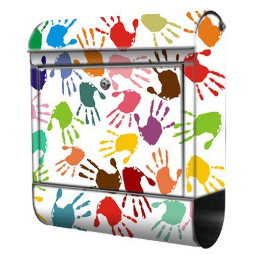 Briefkasten bunt Edelstahl Zeitungsfach motivX Kombi Wandbriefkasten mit Motiv Bunte Handabdrücke