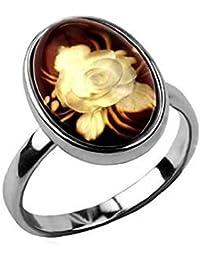 Noda anillo de plata con ámbar Pequeño Camafeo