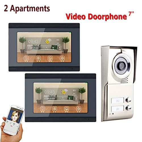 Preisvergleich Produktbild HUALI 7inch Record Wireless WiFi 2 Apartments Video Door Phone Intercom System IR-Cut HD 1000TVL Camera Doorbell Camera mit 2 Taste 2 Monitor Waterproof
