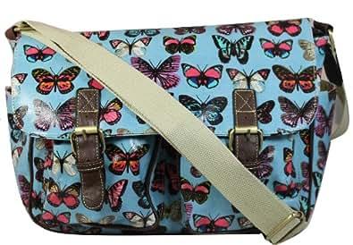 Multicolor Butterfly print Satchel Bag in Sky Blue