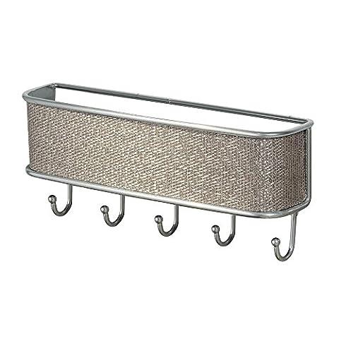 InterDesign Twillo Mail, Letter Holder, Key Rack Organizer for Entryway, Kitchen - Wall Mount, Metallic