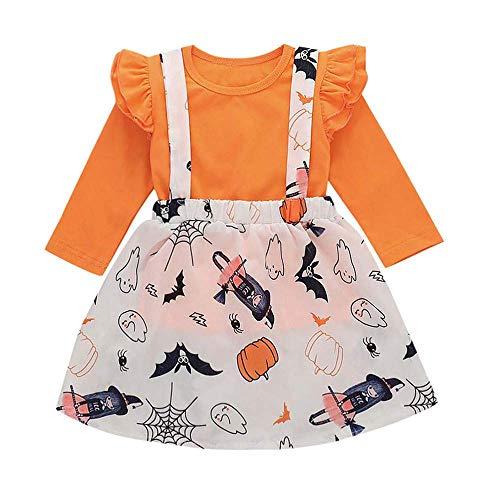 Fuxitoggo Niñas bebés pequeños, elegantes, sólidos, manga larga, tops y una linda...