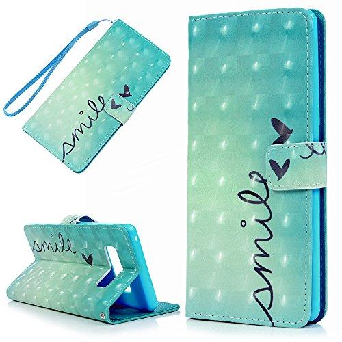 Für Samsung Galaxy Note 8Schutzhülle, 3D Painted Lovely Herz glänzend Gillter Wallet PU Leder Flip Fall mit schützende Dämpfung TPU Innere, Kartenfächer Handschlaufe magnetisch Haut Shell von yokirin - Spring Lock Holster