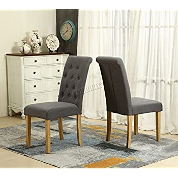 WestWood Furniture Set Of 4 Premium Grey Linen Fabric Dining Chairs Roll  Top Scroll High Back