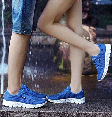 Wealsex Baskets Basse En Mesh Léger Chaussures de Sport Course Fitness Gymnastique Compétition Entraînement Respirante outdoor Homme Femme Mixte Adulte Bleu