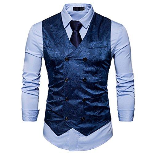 ZhiYuanAN Herren Chic Gedruckt Ärmellose Jacke Blazer Gilet Große Größe Anzug Weste V-Ausschnitt Zweireihig Westen
