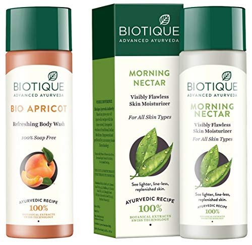 Biotique Bio Apricot Refreshing Body Wash, 190ml and Biotique Morning Nectar Flawless Skin Lotion for All Skin Types, 190ml