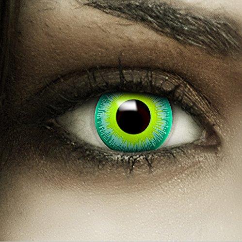 Alien Kontaktlinsen Kostüm - Farbige grüne Kontaktlinsen Alien + Kunstblut Kapseln + Behälter von FXCONTACTS®, weich, ohne Stärke als 2er Pack - perfekt zu Halloween, Karneval, Fasching oder Fasnacht