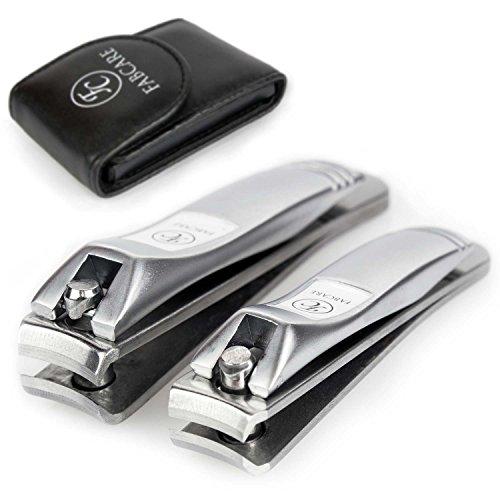 FABCARE Nagelknipser Set (2 Stück) inkl Etui - Nagelzwicker (groß/klein) geeignet für Fingernägel und Fußnägel - Profi Nagelschneider Set zur Nagelpflege - scharfer und glatter Schnitt