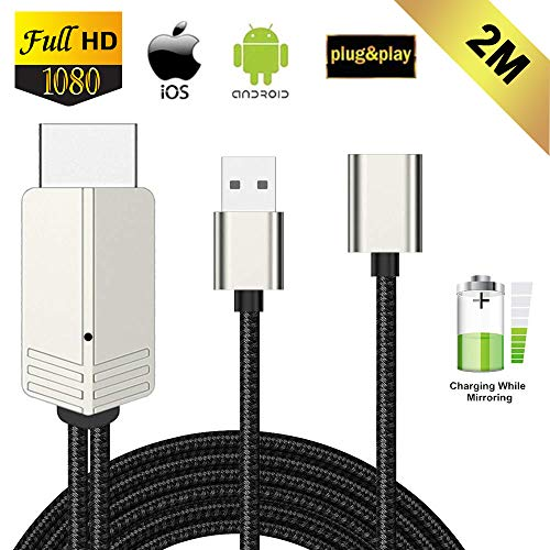 Kompatibel mit iPhone iPad Android Smartphone zu HDMI Kabel, FAERSI 1080P HD MHL HDMI Adapter für Smartphone zu TV/Projektor/Monitor, Digitaler AV Adapter, Plug&Play, 2m Mobile Tv Iphone