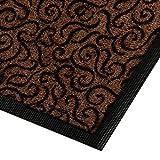 Design Schmutzfangmatte | mit Schnörkelmuster | für Eingangsbereich | Fußmatte in vielen Größen und Farben | braun 60x90 cm