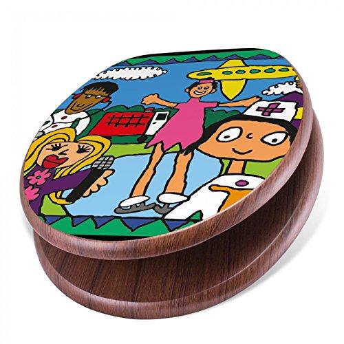 BANJADO Design Toilettensitz mit Absenkautomatik, WC-Sitz Holz, Klodeckel mit Metall Scharnieren, Toilettendeckel mit Motiv Unterm Gelben Flugzeug Flugzeug-klo