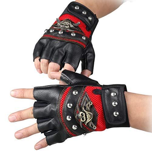Kostüm Gothic Rocker - STUDYY Nieten Handschuhe Steampunk Gothic Handschuhe Punk Kostüm Nieten Motorrad Auto Autofahren Handschuhe Kapitän Fingerlose Fäustlinge 80er Jahre Rocker Kostüm Zubehör