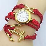 XKC-watches Relojes de Mujer, Infinito Barco Ancla Cuero Banda de Tejido Cuarzo analógico Reloj (Colores Surtidos), Rojo, For Lady-One Size