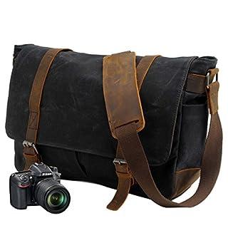 Neuleben Vintage Wasserdicht Kameratasche Aktentasche herausnehmbar Kamerafach Canvas Leder Umhängetasche Fototasche für DSLR Objektiv Laptopfach Update (Schwarz)
