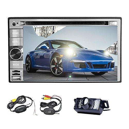 Kabellose Rücksicht-Kamera inklusive Double2DIN Stereo Bluetooth Auto DVD CD Player mit 15,7cm Touchscreen-Unterstützung, AM FM Radio, USB SD MP3MP4Sub Fernbedienung, Lautsprecher hinten (RCA), Input/Output Anschlüsse, Auto-Monitor, Haupteinheit PC