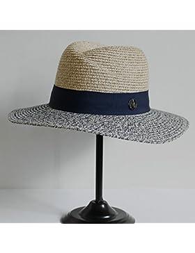 SituMi Señoras Verano sombrero para el sol Sombrero de Paja plegable disquete ala ancha playa grande,Curry Mezcla...