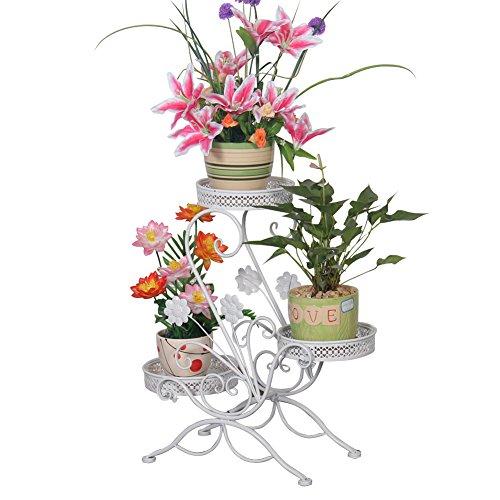 Blumenständer Blumentreppe Blumenregal Pflanzregal, 69x65x22cm (Weiß)
