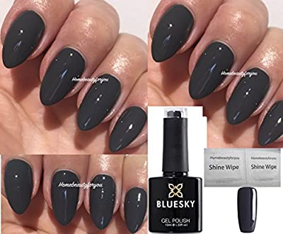 Bluesky 80531 Dark Grey Asphalt Chic Twilight Nail Gel Polish UV LED Soak Off 10ml PLUS 2 Homebeautyforyou Shine Wipes