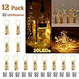 12 Stück LED Flaschenlicht Warmweiß, AIGUOZER 20 LEDs 2M Lichterkette Kupferdraht batteriebetriebene Weinflasche Lichter mit Kork Schnurlicht Stimmungslichter für DIY Deko Weihnachten Party Urlaub