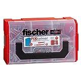 fischer FIXtainer DUOPOWER Tiefenbiss-Box kurz/lang - Universaldübel-Set verwendbar für verschiedene Baustoffe - Dübel geeignet für TV-Konsolen, Leuchten, Wandregale uvm. - 210 Teile - Art.-Nr. 539867