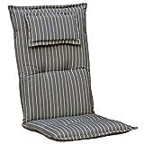 Kettler Polen K709 Gartenpolster mit Kopfkissen in grau gestreift Sessel Auflagen Polster Kissen