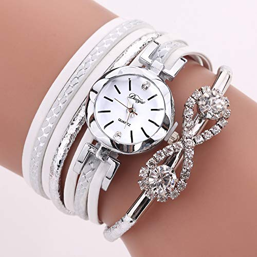 Jackys Damen Armbanduhr Leder Quarzuhr Fashion & Drill Design Wickelarmband Circle Table Girlfriend,D