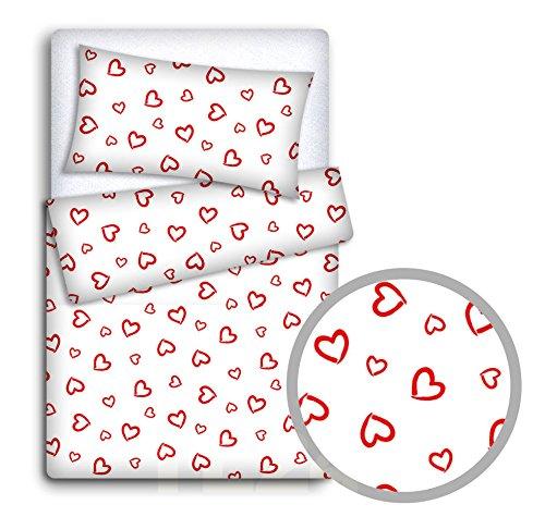 babymam Baby Bettwäsche Set Kissenbezüge/Bettbezug an Babybett, rot Herzen auf weißem Hintergrund, 2-teilig (Rote Baby-bettwäsche)