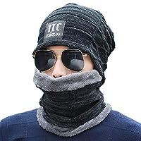 Men's 2 Pieces Hat Scarf Set Applique Thicken Hat Accessories Set Black