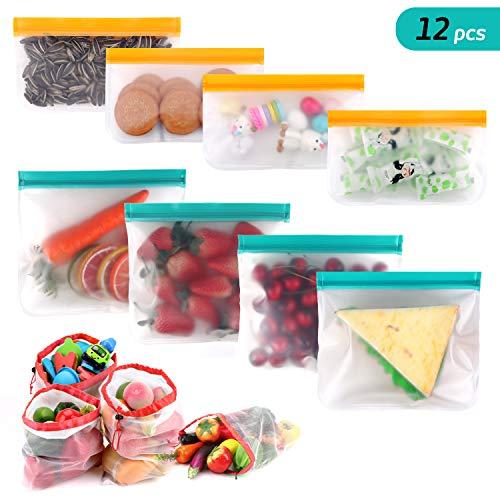 ensmittel Beutel Wiederverwendbare Obst- und gemüsebeutel Set, PEVA Aufbewahrungsbeutel Sandwichbeutel mit Doppelt Reißverschluss, Vielseitige Konservierung Tasche ()