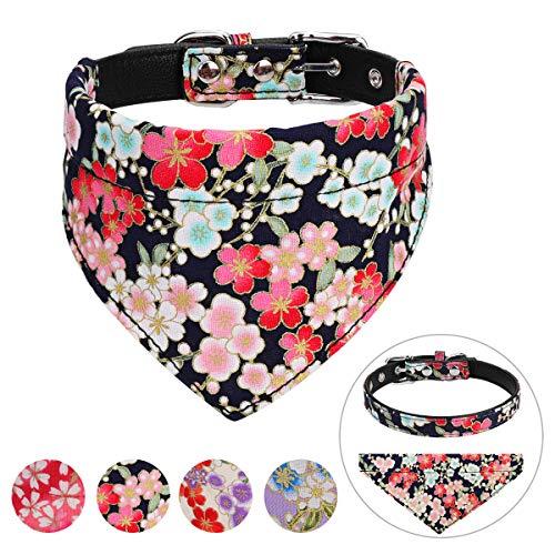 Vaburs Hundehalsband und Hundehalstuch mit Halstuch für kleine und mittelgroße Hunde verstellbar, M, schwarz (Weibliche Hundehalsbänder)