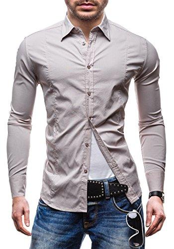 NEW MEN Langarm Herrenhemd Hemd Figurbetont Freizeit Slim Fit 7178 Beige