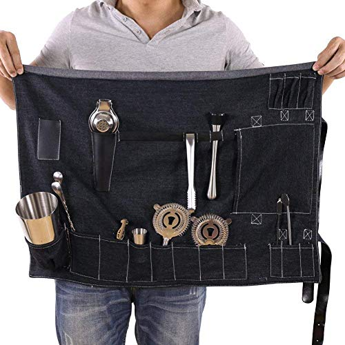 Kit barman roll bag, Portable Large bar di borsa, a casa e ufficio cocktail making denim borsa per viaggi