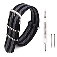 BesWLZ Watch Bands Premium Ballistic Nylon Watch Strap Stainless Steel Buckle 18mm 20mm 22mm