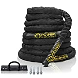 POWER GUIDANCE Battle Rope - 38mm Width Poly Dacron 9m/12m/15m Length Exercise Undulation Ropes - Gym Muscle Toning Metabolic Workout Fitness Exercise - Battle Rope Anchor Included (15M.Length)