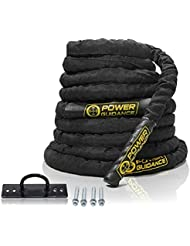 POWER GUIDANCE Battle Rope Corde d'entrainement 38mm Largeur Poly Dacron 9m / 12m / 15m Longueur Exercise Undulation Ropes - GYM Muscle Toning Metabolic Workout Exercice de remise en forme - Battle Rope Anching Included