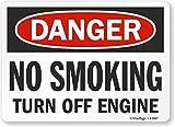 SmartSign Aluminium OSHA Sicherheitsschild, Legend Danger: No Smoking Turn Off Engine, 25,4 cm hoch x 35,6 cm breit, Schwarz/Rot auf Weiß