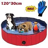 JJOBS Piscina bañera Plegable para Perros Gatos Mascotas, Natacion al Aire Libre, Material de PVC-Rojo (L:120 * 30CM)