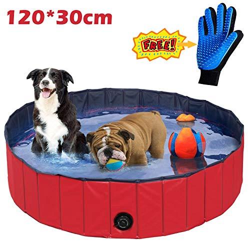 JJOBS Piscina per Cani Vasca da Bagno Portatile Pieghevole per Cani Gatto Animali Domestici in PVC-Rosso (L:120 * 30cm)