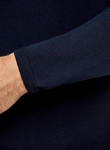 oodji Ultra Herren Gerade Geschnittener Pullover mit Stickerei Blau (7912P)