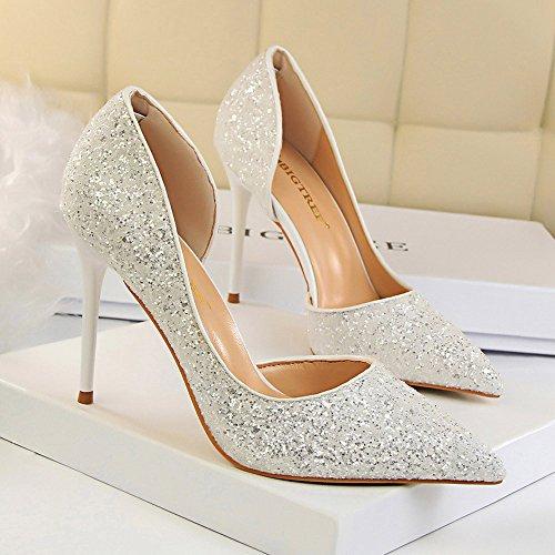 a4f814f99 Beikoard-scarpa da Donna Estremamente Sexy Tacchi Alti Scarpe da Donna  Scarpe con Tacchi Sottili Scarpe da Donna(Bianco,37)