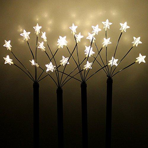 4 Stück LED Außenbeleuchtung Sternenstäbe H66cm Lichterkette 24 LED-Lichter Außendekoration Lichterdeko Leuchtstäbe Gartendekoration