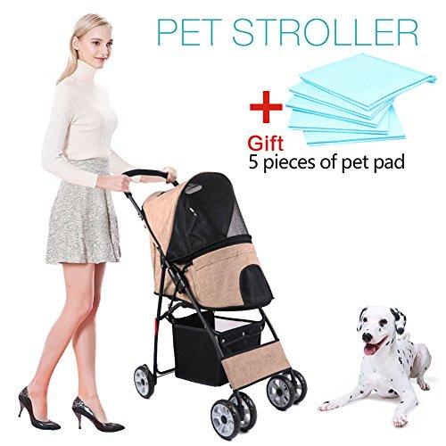 Wooce Carro plegable para mascota, diseño cara a cara, para perro, bebé, 4 ruedas, múltiples cabezas, peso ligero, fácil de montar, pequeño y mediano