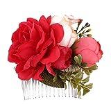 pu ran - Peigne à cheveux avec fleurs artificielles pour femme - Pour mariage