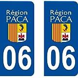 2 Stickers Autocollant style Plaque Immatriculation département 06