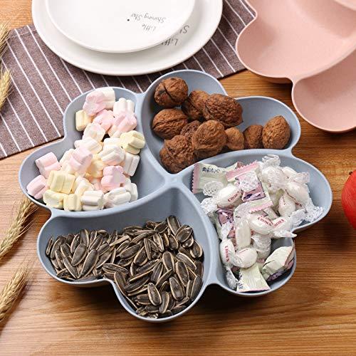Weizenstrohhalm Süßigkeitenteller Kreativ getrocknet Obstteller europäischer Fashion Fach Kunststoff Obstteller Blue Four-leaf Clover Fruit Bowl Opp