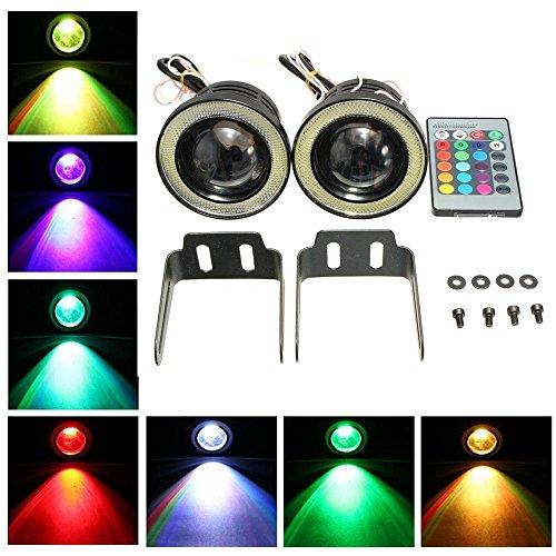 Preisvergleich Produktbild KaTur 2High Power 6,3cm Projektor Universal RGB LED Nebelscheinwerfer, weiß, COB Halo Angel Eye Ringe DRL Fahrleuchtmittel